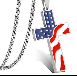 Wholesale Lot of 2 American Flag Cross Necklaces
